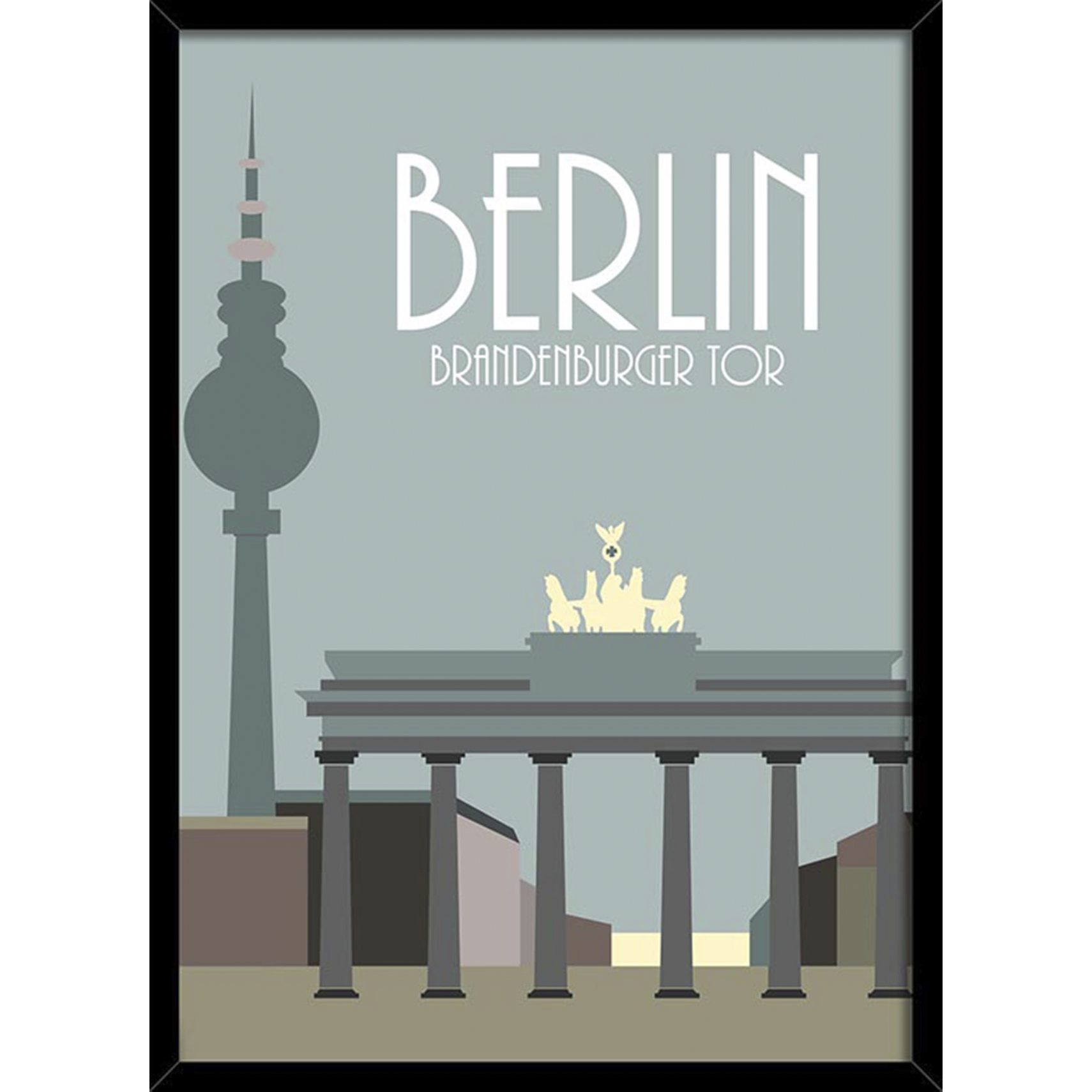 BY BILLEDER Plakat - BERLIN m/ sort ramme