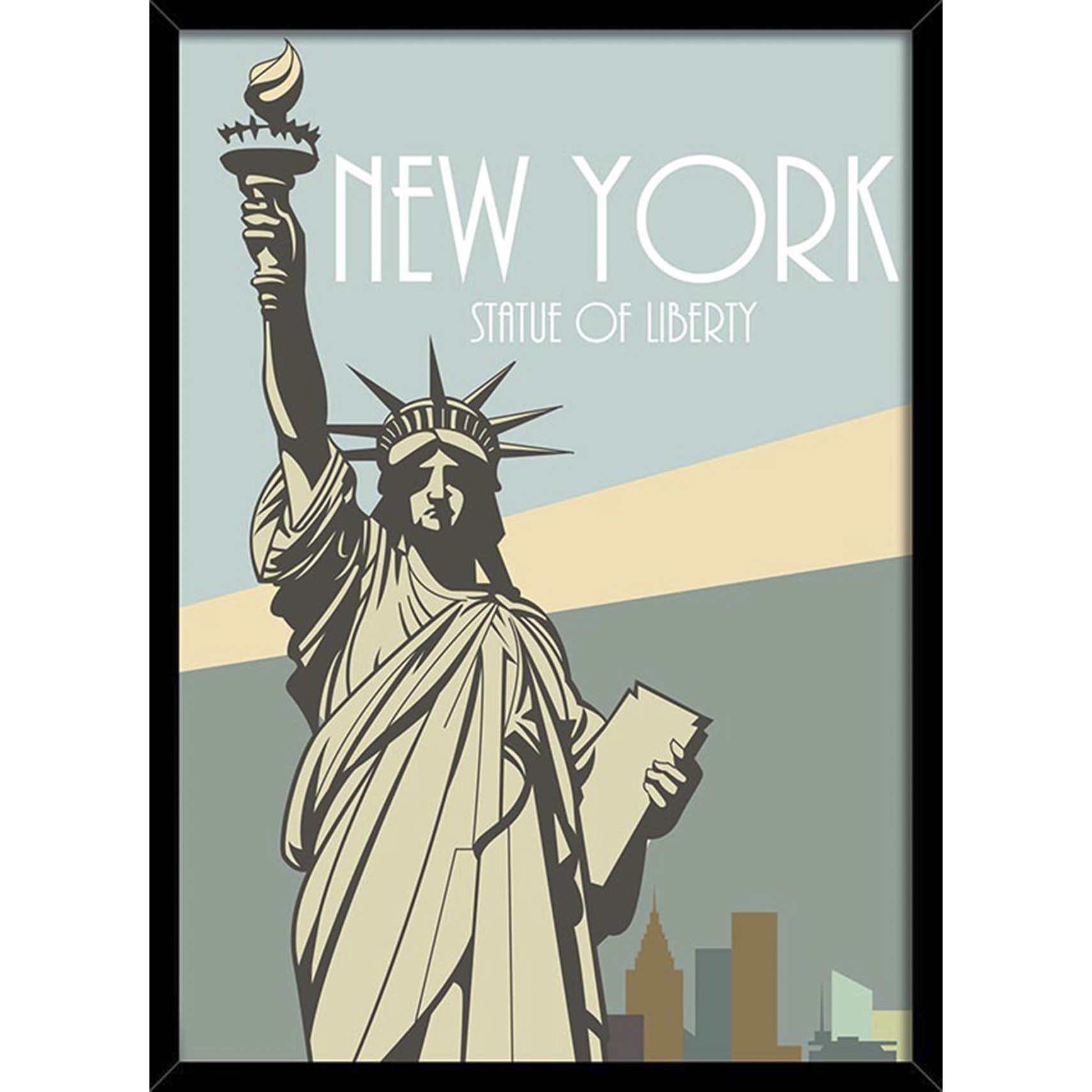 BY BILLEDER Plakat - NEW YORK m/ sort ramme