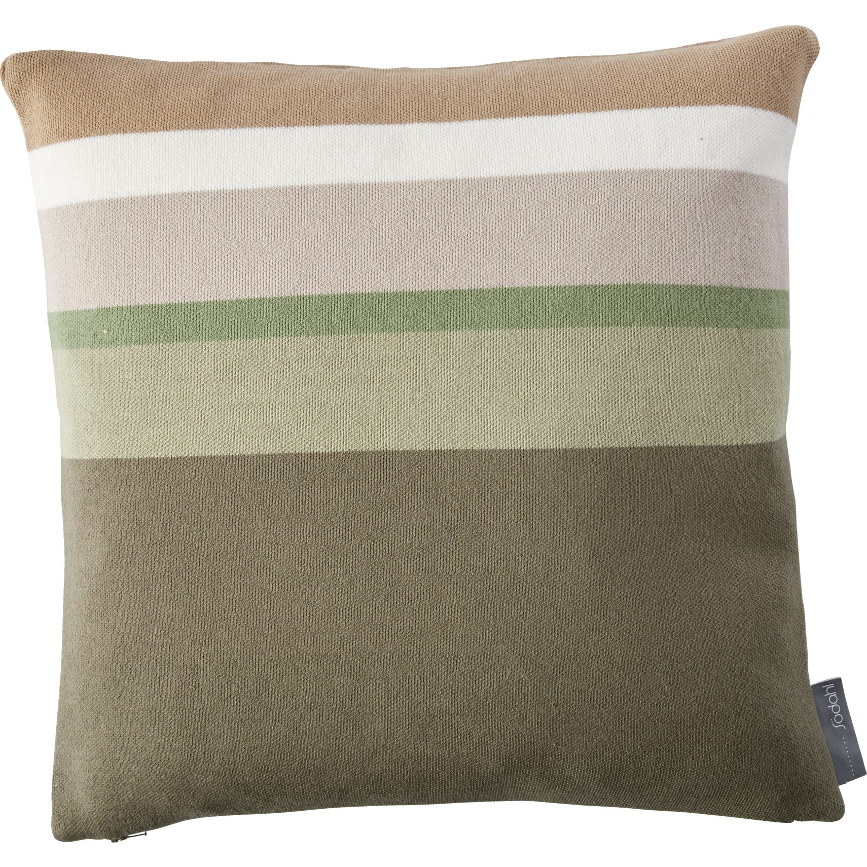 Södahl Harmony Pude - Deep lichen green bomuld og taos taupe/offwhite/swamp striber