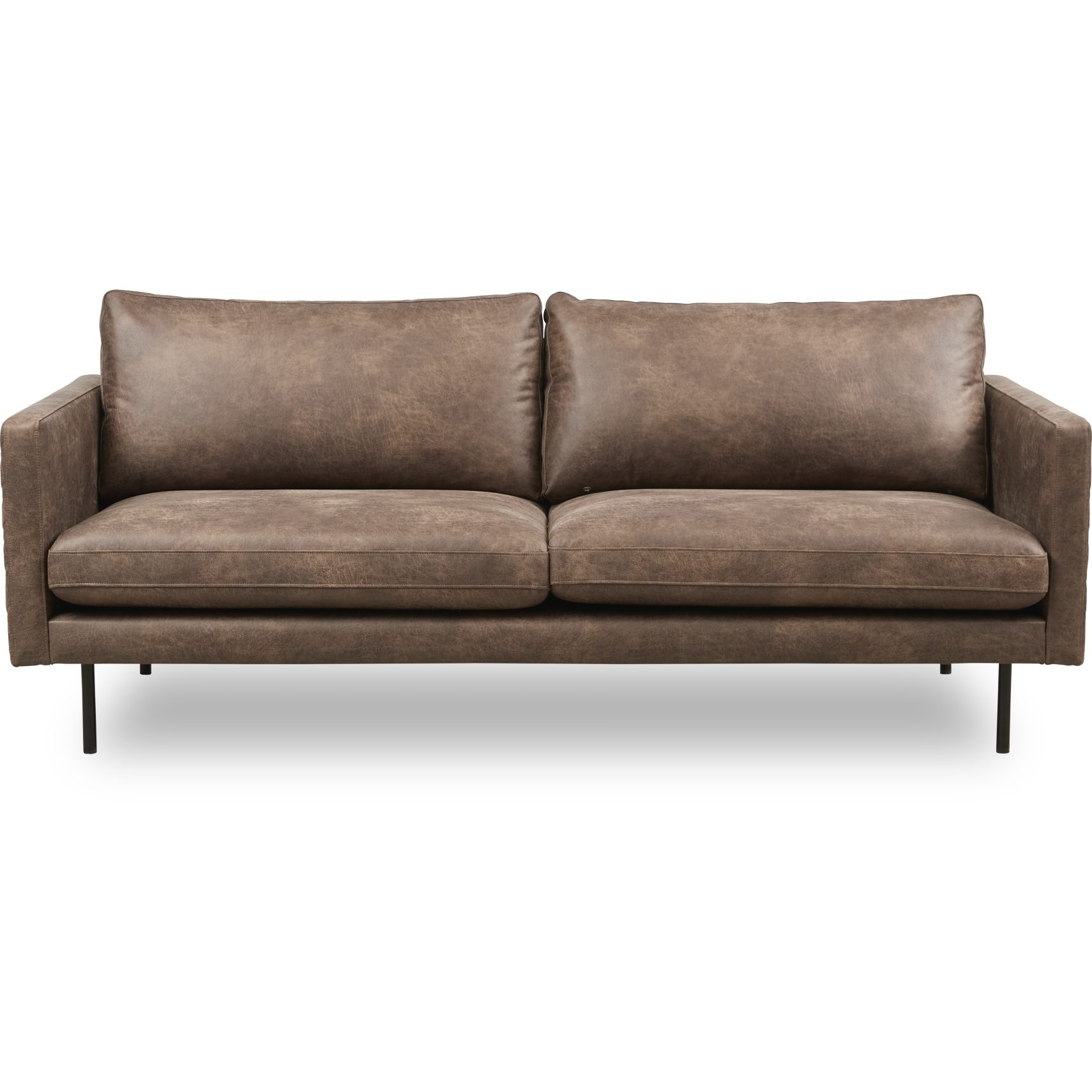 Sicilia 3 pers Sofa - Colorado 4 Brown bonded læder og ben i sort metal