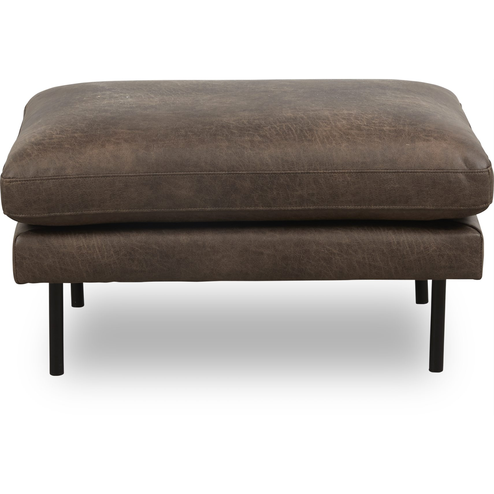Sicilia Sofa puf - Colorado 4 Brown bonded læder og ben i sort metal