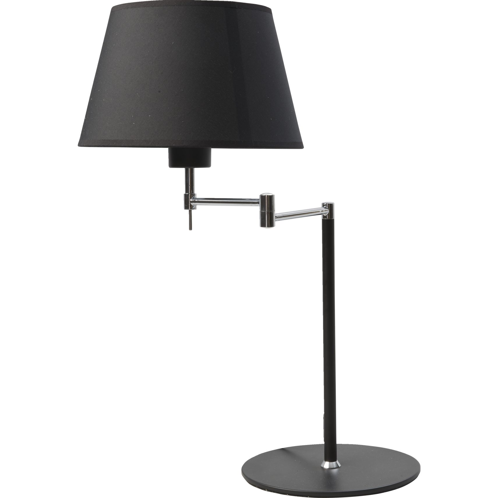 Swing Bordlampe - Sort stofskærm og sort/krom metal base og arm