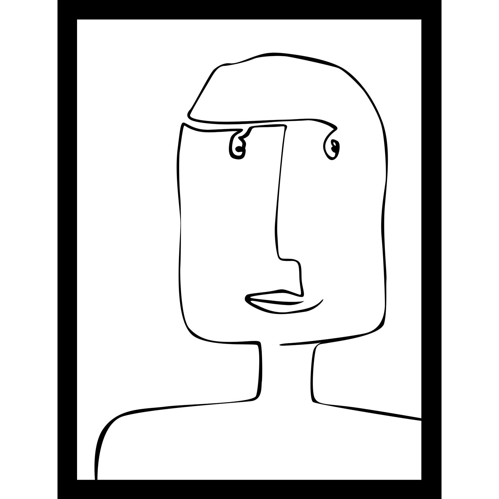 ART GALLERY Plakat 40 x 50 x 1,5 cm - One-line person I og ramme i 15 mm sort fyrretræ