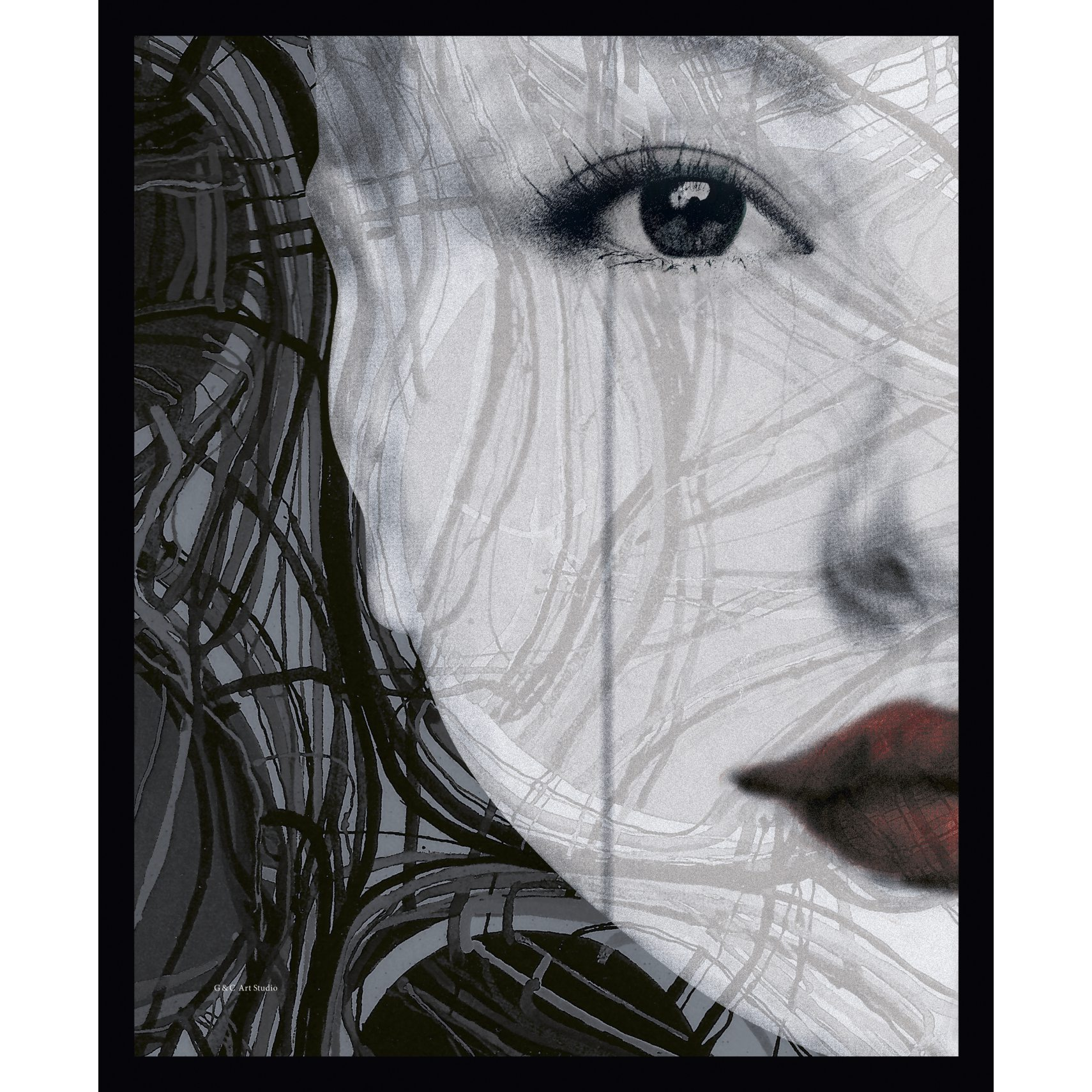 ART GALLERY Plakat 30 x 40 x 1,5 cm - Woman face left og ramme i 15 mm sort fyrretræ