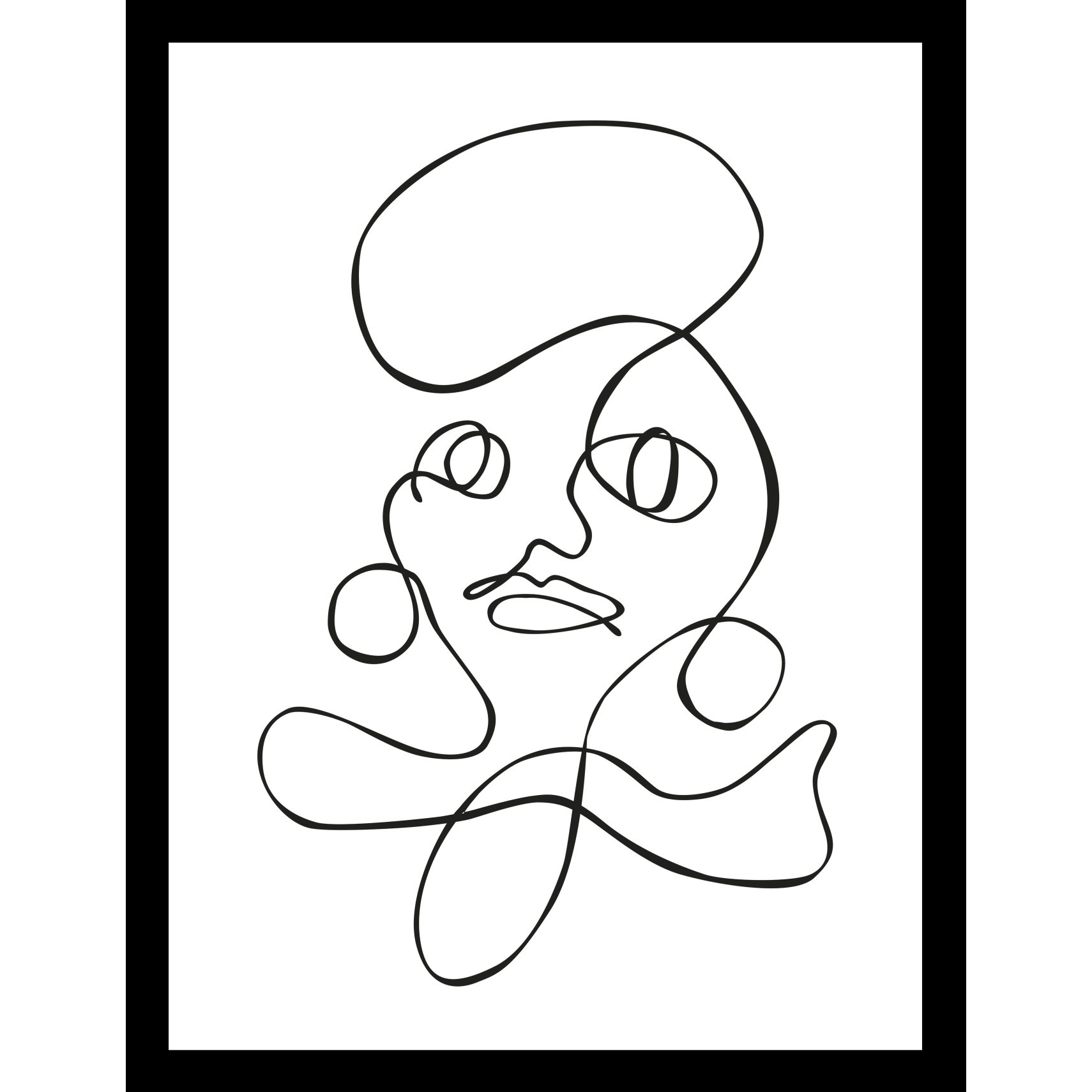 ART GALLERY Plakat 30 x 40 x 1,5 cm - One-line face II og ramme i 15 mm sort fyrretræ