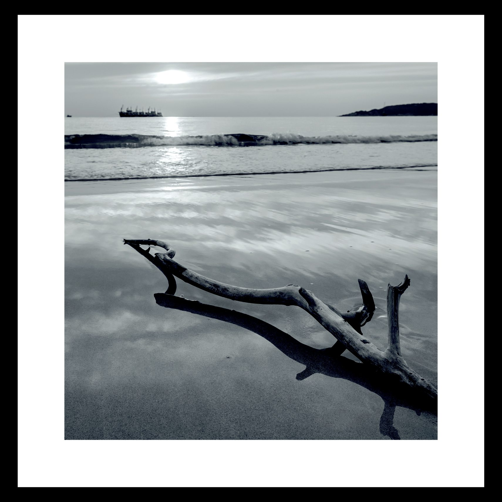 ART GALLERY Plakat 40 x 40 x 1,5 cm - Beach og ramme i 15 mm sort fyrretræ