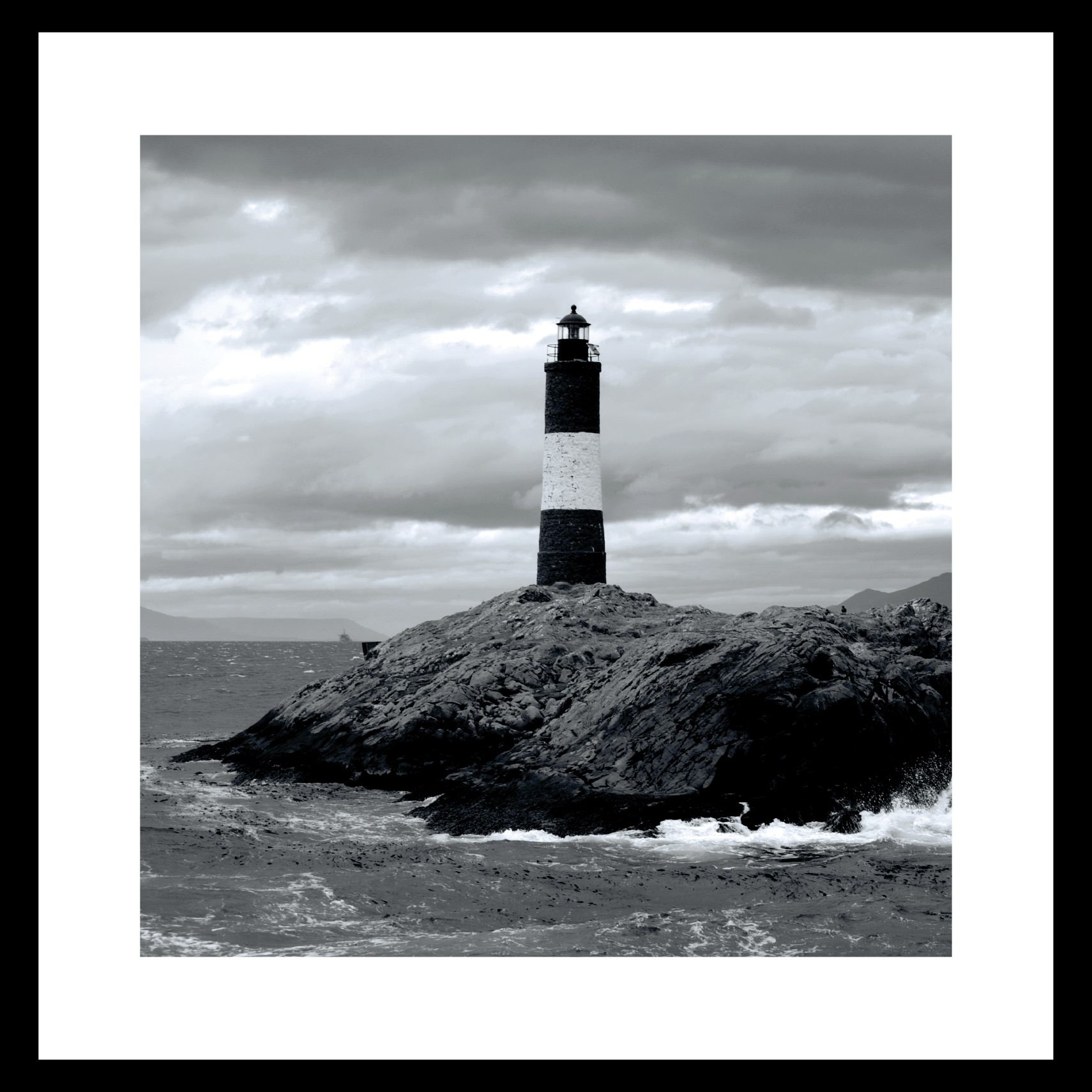 ART GALLERY Plakat 40 x 40 x 1,5 cm - Lighthouse I og ramme i 15 mm sort fyrretræ