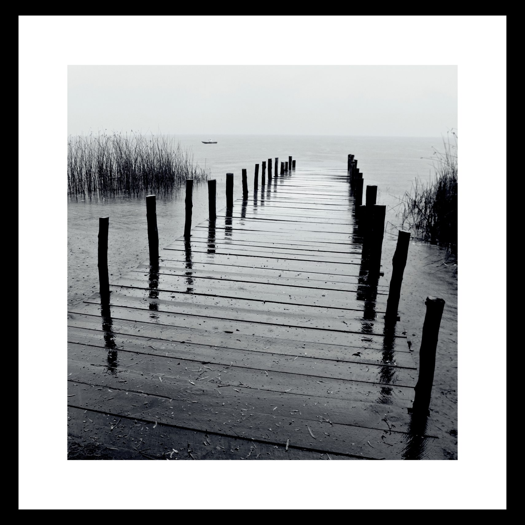 ART GALLERY Plakat 40 x 40 x 1,5 cm - Bridge I - B/W og ramme i 15 mm sort fyrretræ