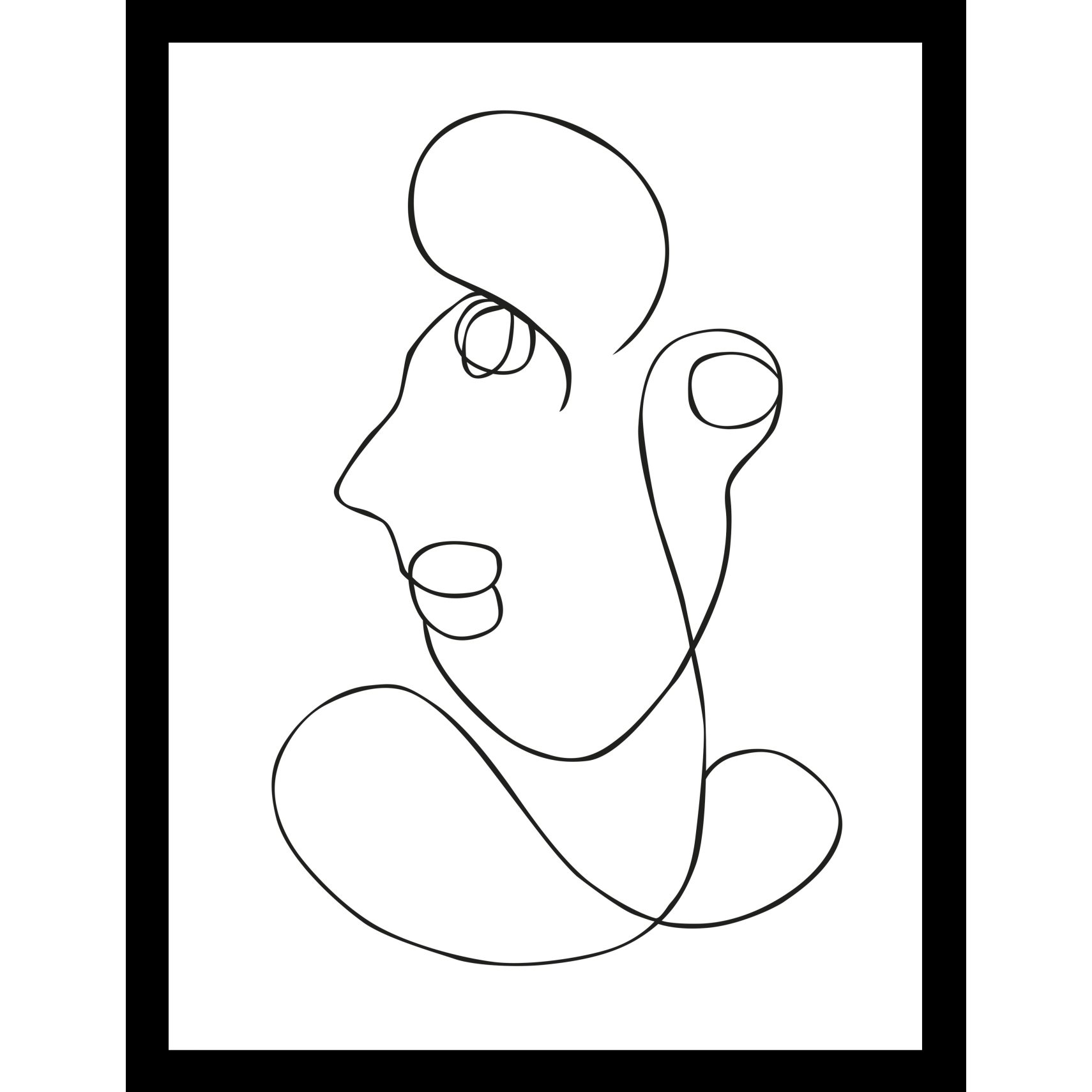 ART GALLERY Plakat 30 x 40 x 1,5 cm - One-line face III og ramme i 15 mm sort fyrretræ