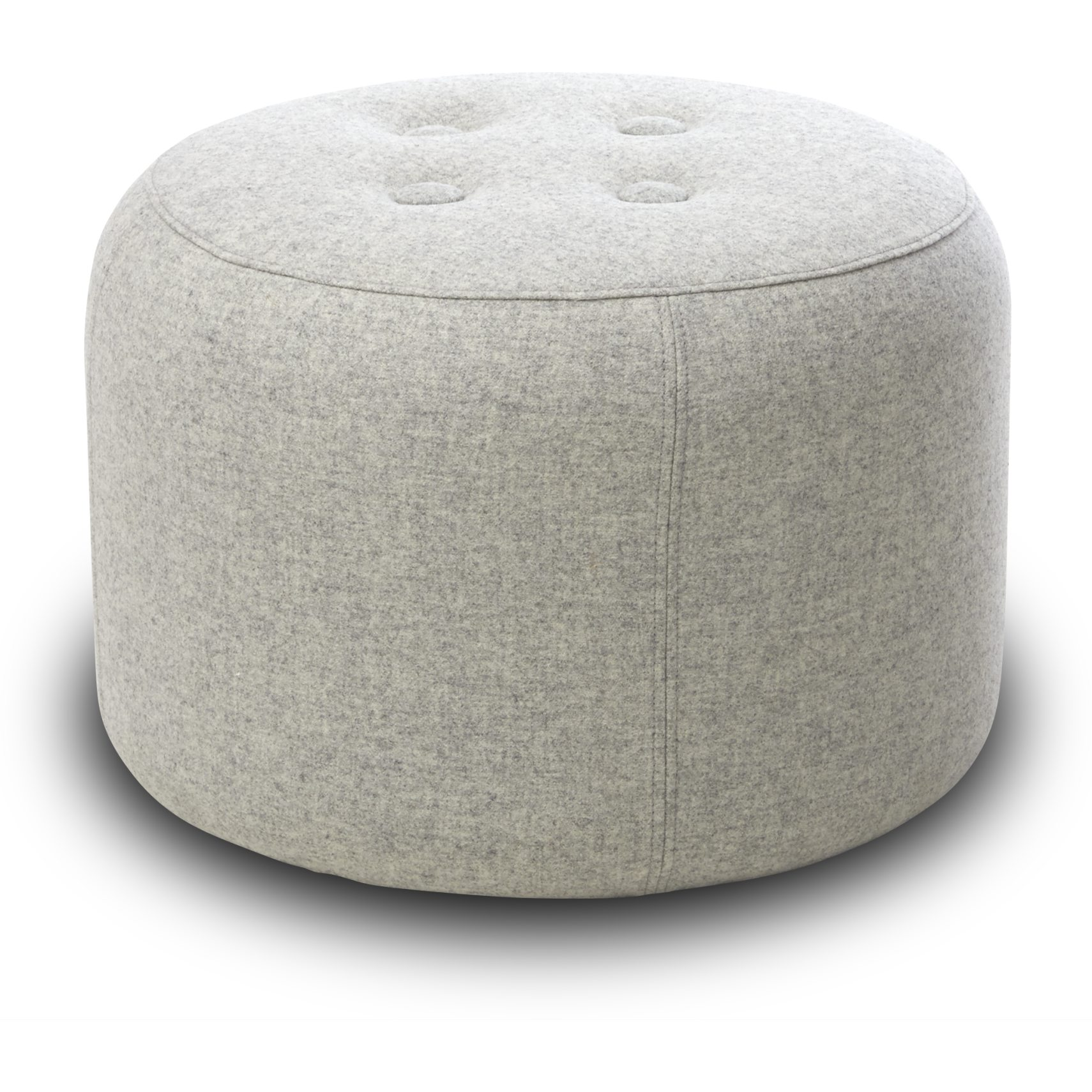 Gople Sofa puf - Misha 50 Light Grey stof, Med 4 knapper og sæde i polyetherskum