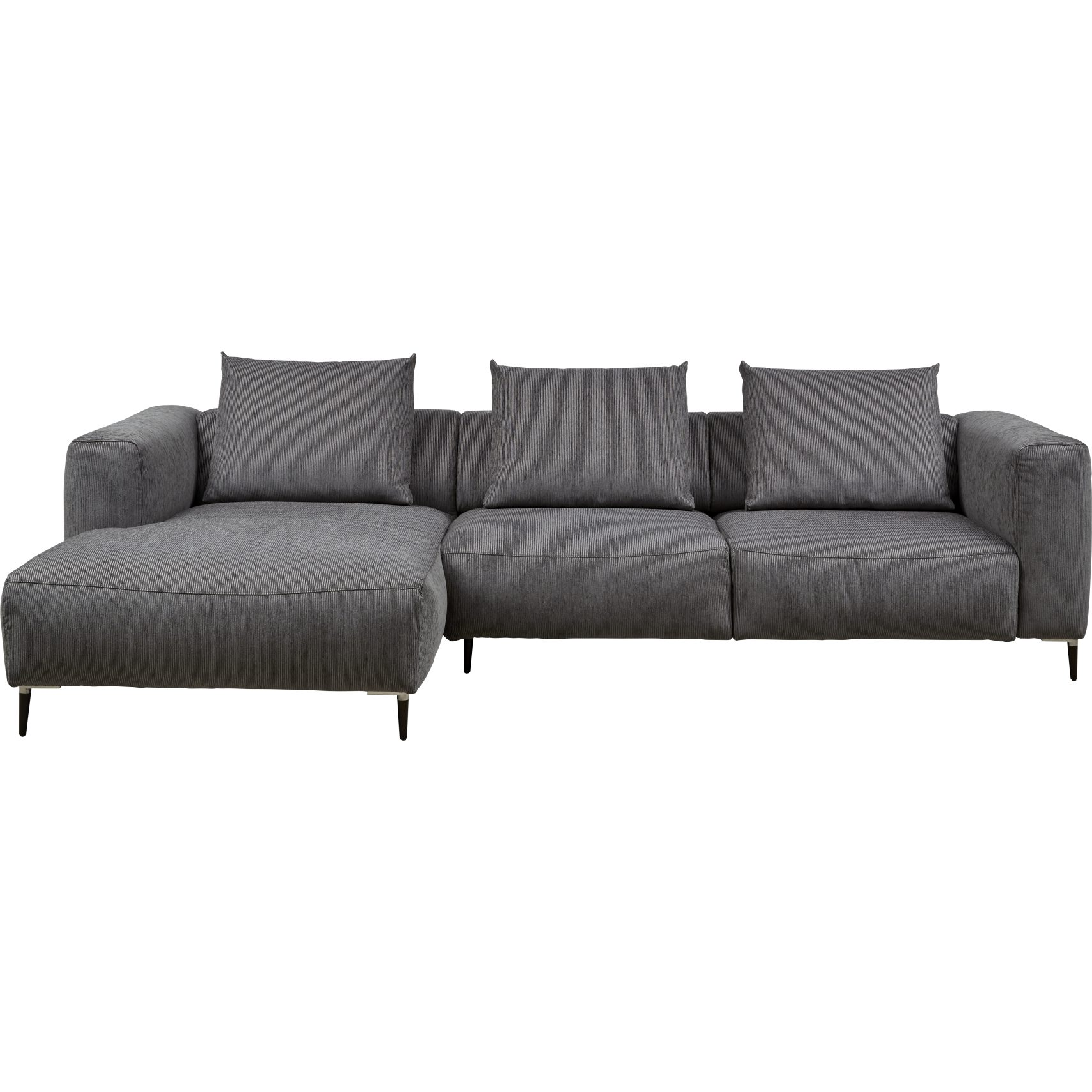 Roana Sofa med chaiselong - Palermo 1045 Space Grey stof og ben i aluminium/sort træ