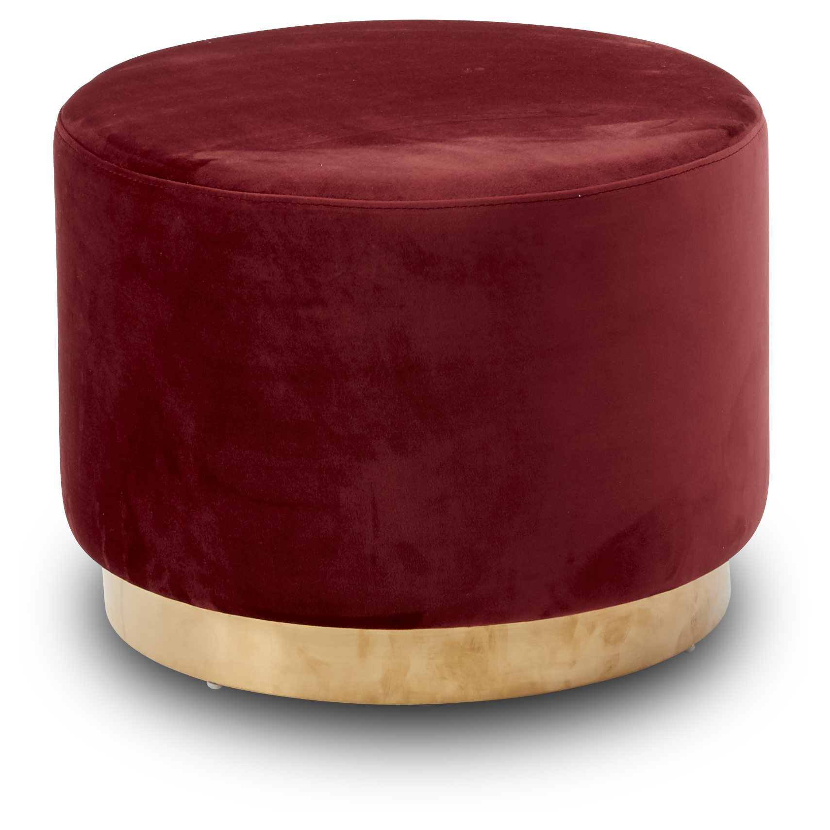 Gold Sofa puf - Barn red 2028-51 velour stof og Sokkel i messing